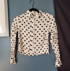 H&M heart print cropped button up